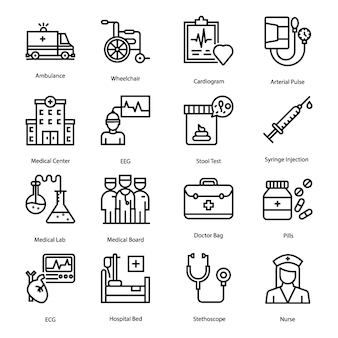 Medical tools line vectors
