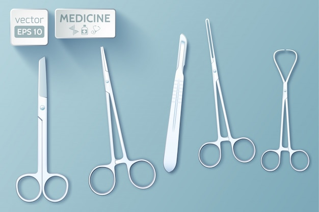 Medical tools set of forceps scalpel scissors clamp