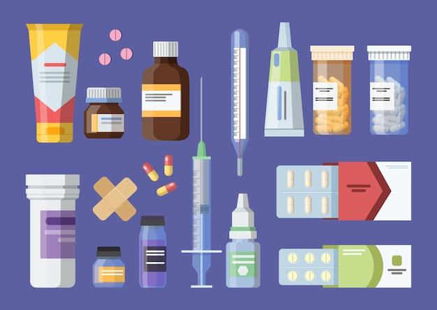 Набор медицинских инструментов с шприцем и термометром. стетоскоп и щипцы, стерильный инструмент. лекарство и таблетка. концепция здравоохранения. отдельные векторные иллюстрации в мультяшном стиле.