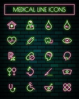 Medical and tools thin neon glowing line icons set.