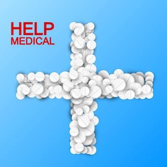 Modello leggero di trattamento medico con farmaci bianchi e pillole a forma di croce sull'azzurro