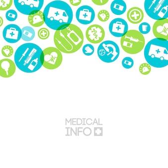 Luce per cure mediche con semplici icone ed elementi in cerchi colorati