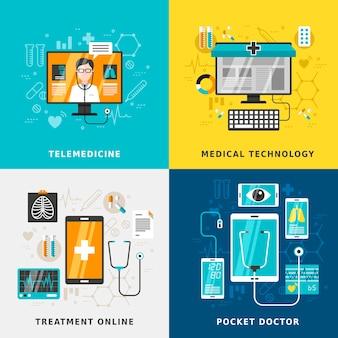フラットデザインの医療オンラインコンセプト