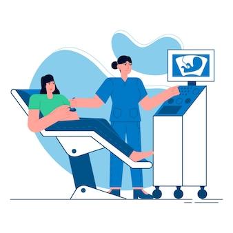 Medical ultrasound flat illustration