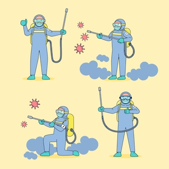 The medical unit, wearing germ-resistant clothing, sprayed a disinfectant for the coronavirus in the face of a large epidemic. flat illustration
