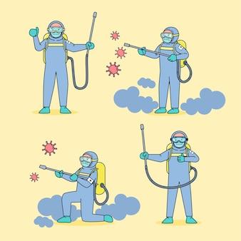 L'unità medica, indossando indumenti resistenti ai germi, ha spruzzato un disinfettante per il coronavirus di fronte a una grande epidemia. illustrazione piatta