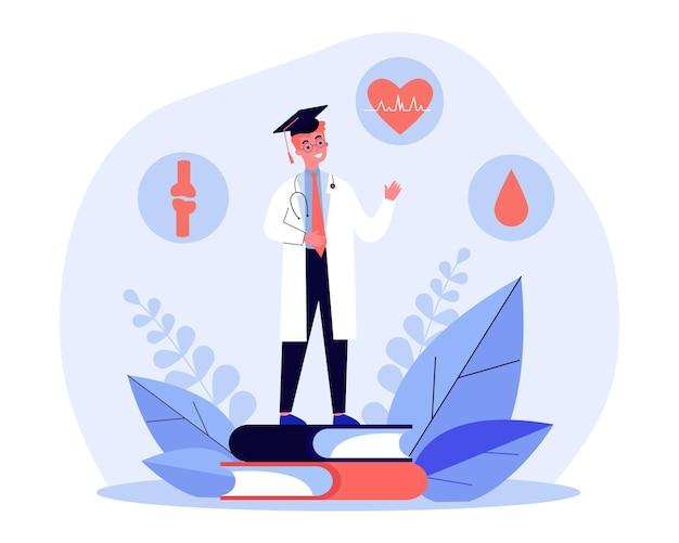 医科大学卒業フラットベクトルイラスト。巨大な本の上に立って、循環器、関節、心臓血管の健康の知識を持つ若い医者。医学、教育、ヘルスケアの概念