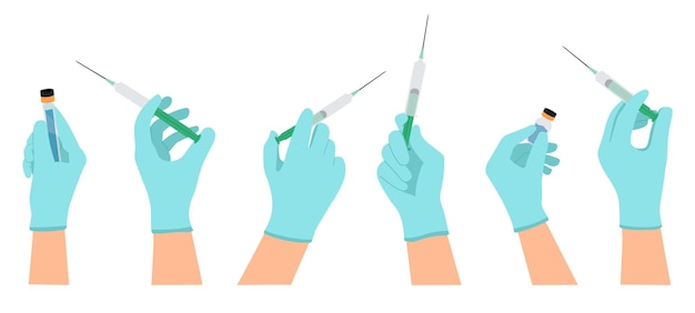 Medical vaccination doctor hands hold syringe and vaccine bottle vaccination shot coronavirus or flu vaccination