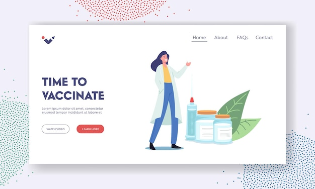 Medical vaccination landing page template. tiny female doctor character with huge syringe invite for immunization with vaccine injection dose shot for prevention illness. cartoon vector illustration