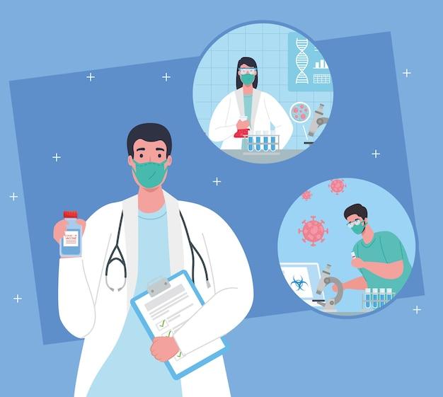의료 백신 연구 코로나 바이러스, 의료 백신 연구 의사 그룹 및 코로나 바이러스 covid19 일러스트레이션을위한 교육 미생물학