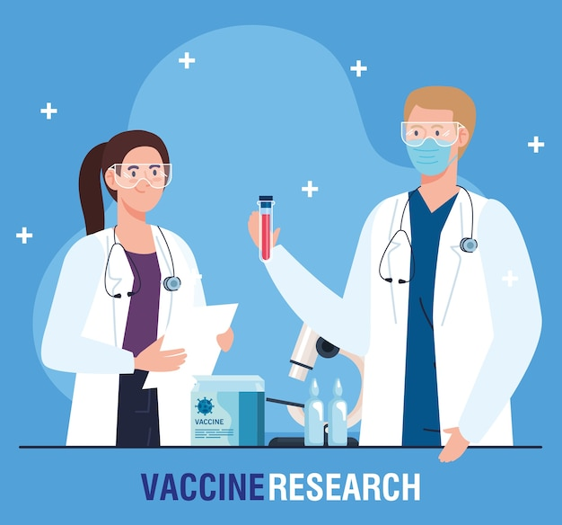 Медицинские исследования вакцины, пара врачей-профессионалов по разработке вакцины против коронавируса covid19.