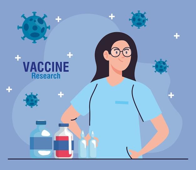 Медицинские исследования вакцины, женщина-врач с флаконами, разработка вакцины против коронавируса covid19.