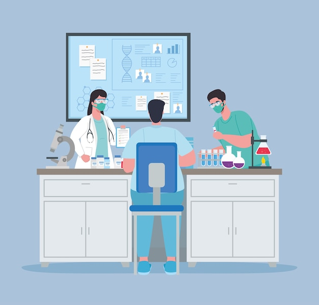 Medical vaccine research, doctor group in laboratory for scientific virus prevention study illustration