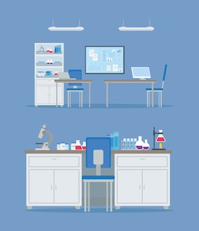 Medical vaccine research, scene of laboratory for scientific virus prevention study illustration