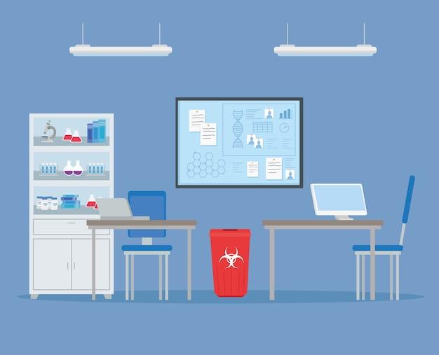 Medical vaccine research, scene laboratory for scientific virus prevention study illustration