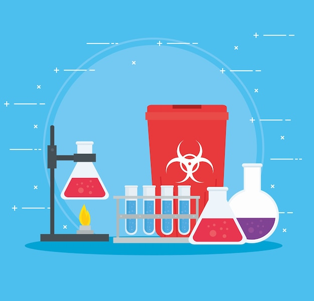 Medical vaccine research, supplies for scientific virus prevention study illustration