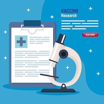 Medical vaccine research, with microscope and checklist, scientific virus prevention study illustration