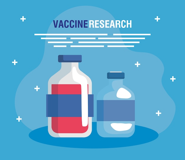 Medical vaccine research, with set vials, scientific virus prevention study illustration