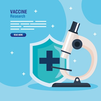 Medical vaccine research, with shield and microscope, scientific virus prevention study illustration