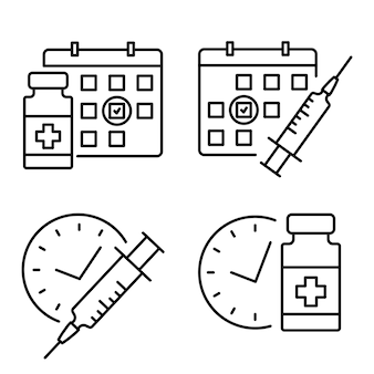 Medical vial and syringe with timer. vaccination schedule line icon. second injection time symbol. immunization concept. antiviral medical concept. vector