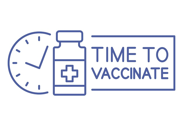 Medical vial with timer. vaccination schedule line icon. time to vaccinate. immunization concept. health care and protection. antiviral medical concept. vector