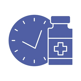 Medical vial with timer vaccination schedule line icon time to vaccinate immunization concept