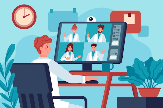 Medical video conference. doctor in video chat with coworkers online consulting diagnosis covid 19. virtual medical experts vector concept. medical practitioners having call, distant work