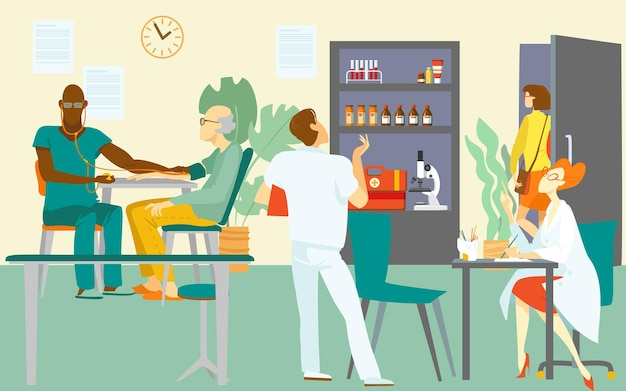 Medical visit doctor, vector illustration. healthcare consultation by doctor character, patient at hospital office. man woman physician provide professional care about senior male person.