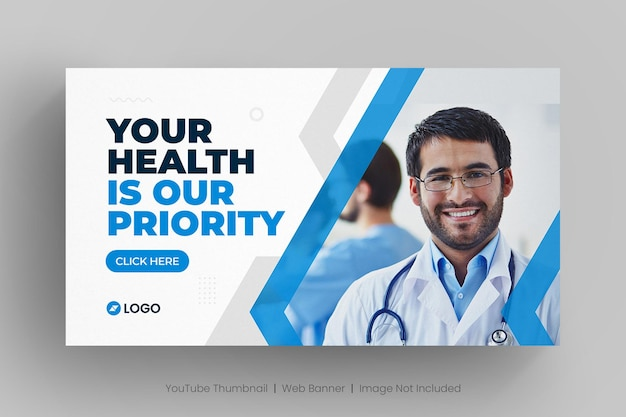 Medical web banner template and youtube thumbnail
