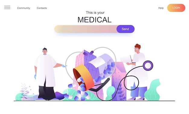 Medical web concept for landing page