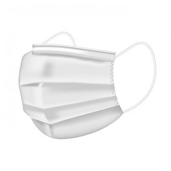 Медицинская белая маска изолированная на белой предпосылке. докторская маска и защита от коронирусного вируса. реалистичная защитная медицинская маска для лица. медицинская маска для врачей и пациентов.