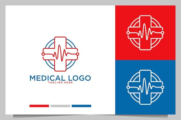 Medical with modern line art logo design