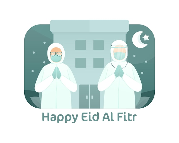 Medical worker celebrate eid al fitr illustration