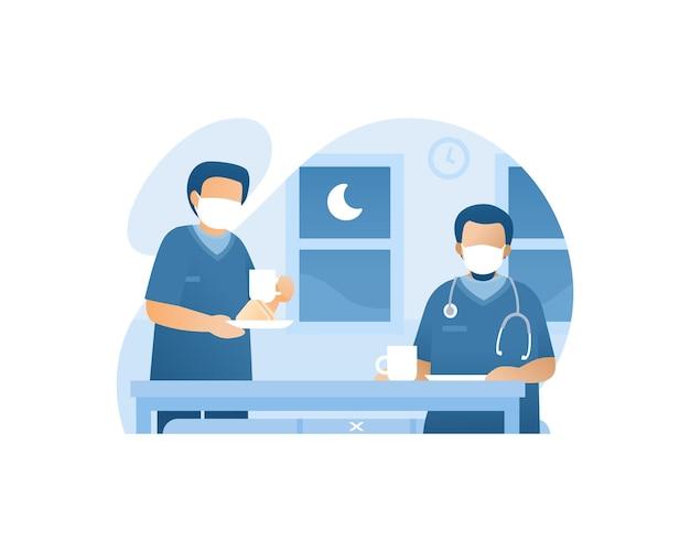의료 노동자는 야간 근무 그림에서 함께 식사