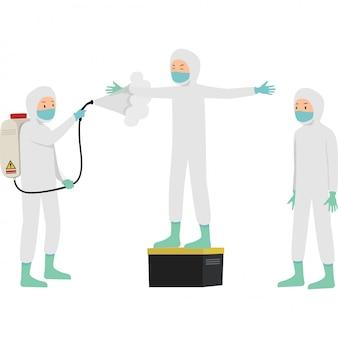 医療従事者がパートナーに消毒剤をスプレーしてcovid 19を防止