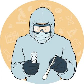 医療従事者が医療従事者のための個人用保護具スーツマスク手袋を着用して正面で綿棒テストサンプルを撮影