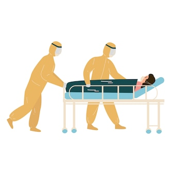 Medical worker wear hazmat suit is carrying covid1-9 patient