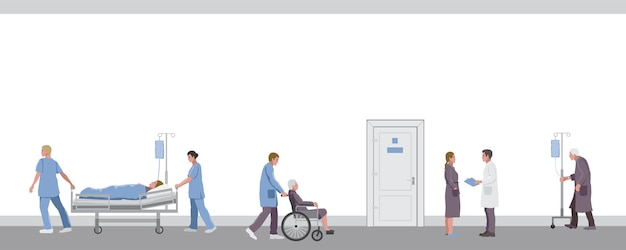 Medical workers doctors and patients in hospital corridor clinic interior template with text place
