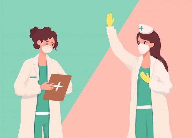 Медицинские работники в защитных масках и форме проверяя медицинские файлы иллюстрация шаржа.