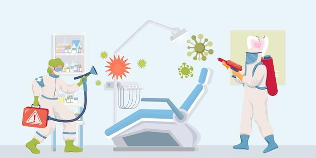 防護服とフェイスマスクの医療従事者は、患者がフラットの図を訪問した後、病院の表面を消毒します。