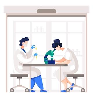 Медицинские работники или ученые, работающие над анализом клеток и веществ.