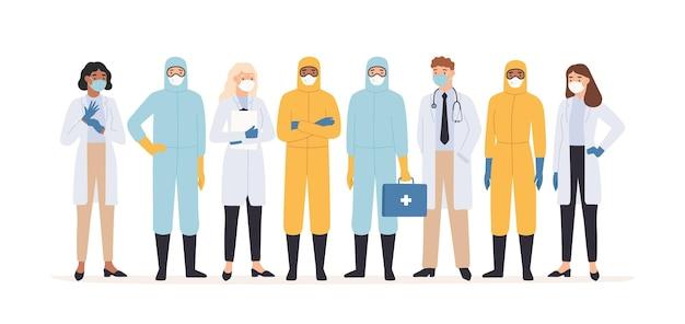 의료인. 전문 의사와 간호사가 보호 복을 입고 함께 서 있습니다. covid 19 바이러스 발생 전염병 일러스트