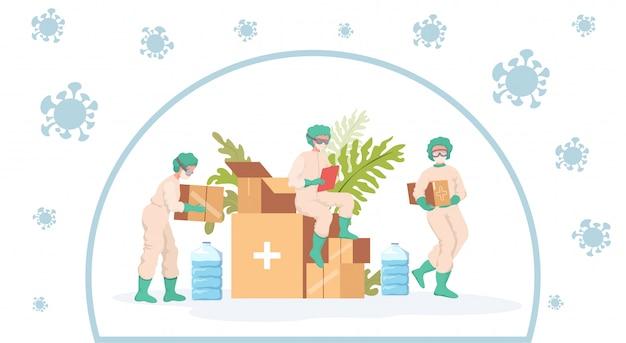 의료진은 코로나 바이러스 발생 만화 일러스트 동안 인도 주의적 지원을받습니다.
