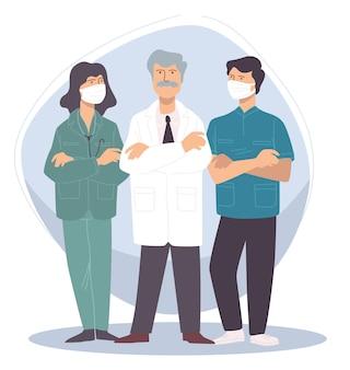 보호 마스크를 착용한 의료진 팀. 병원이나 진료소에서 일하는 전문 의사. 전염병 상황, 제복을 입은 사람들. 외과 또는 간호 직원 협력. 평면 스타일의 벡터