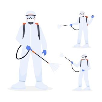 医療従事者は個人用保護具キャラクターセットを着用