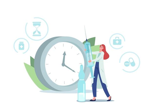 Рецепт лекарства, концепция здравоохранения. крошечный персонаж-доктор с огромным шприцем и ампулой с лекарством рядом с часами, показывающими время для применения ежедневной дозы лекарства. мультфильм люди векторные иллюстрации