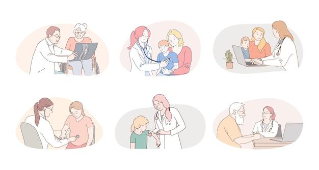 메디 케어, 의료, 치료사, 소아과 의사 작업 개념. 전문 의사 치료사