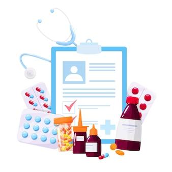 Концепция лечения и лечения. сбор аптечного препарата в бутылке и коробке. таблетка лекарства и форма рецепта. концепция аптеки и фармацевта.