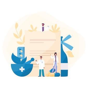 Концепция лекарства. сбор аптечного препарата в бутылке и коробке. таблетка лекарства для лечения болезни и рецепт. концепция аптеки и фармацевта.