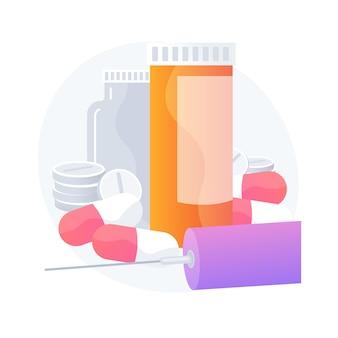 Prescrizione di farmaci. trattamento delle malattie, assistenza sanitaria, farmaci. bottiglie di pillole, capsule e siringhe con vaccino. prodotti farmaceutici. illustrazione della metafora del concetto isolato di vettore